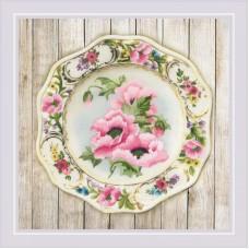"0075 ""Тарелка с розовыми маками"""